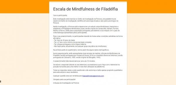 Centro de Investigação da Psinove: investigação em Mindfulness